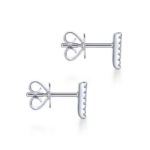 14k White Gold Pave Diamond Triangle Stud Earrings