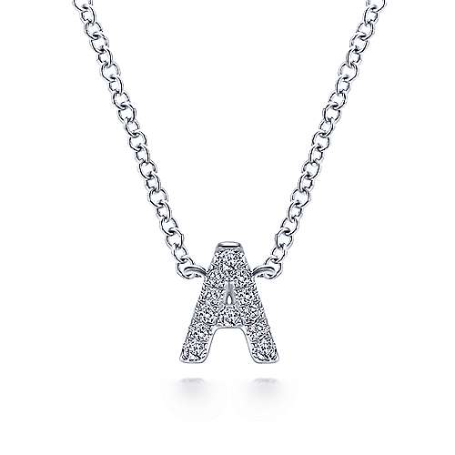 14k White Gold Pave Diamond Uppercase A Initial Necklace