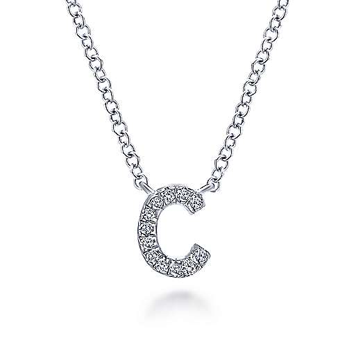 14k White Gold Pave Diamond Uppercase C Initial Necklace