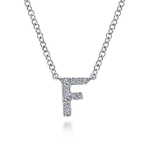Gabriel - 14k White Gold Pave Diamond Uppercase F Initial Necklace
