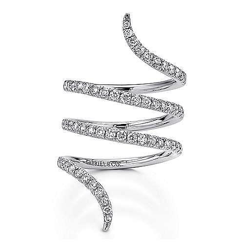 14k White Gold Pave Diamond Wrap Ring
