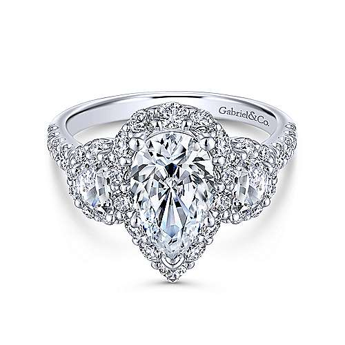 Gabriel - 14k White Gold Pear Shape 3 Stone Halo Engagement Ring