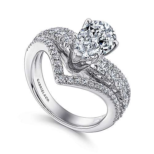14k White Gold Pear Shape Curved Engagement Ring angle 3