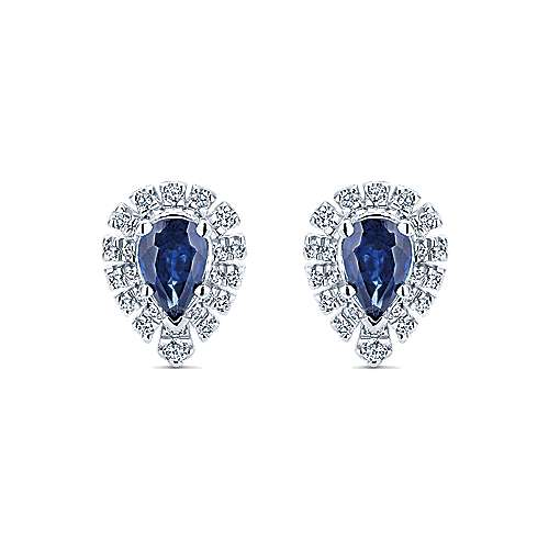 14k White Gold Pear Shape Halo Diamond and Sapphire Stud Earrings