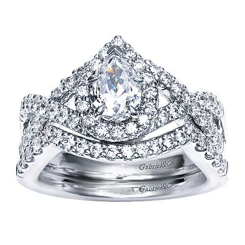 14k White Gold Pear Shape Halo Engagement Ring angle 4