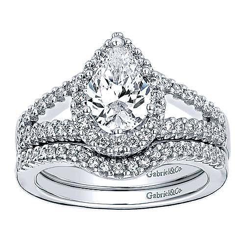 14k White Gold Pear Shape Halo Engagement Ring angle 4