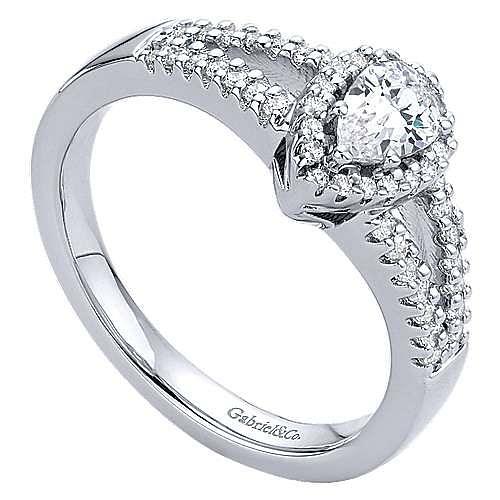 14k White Gold Pear Shape Halo Engagement Ring angle 3