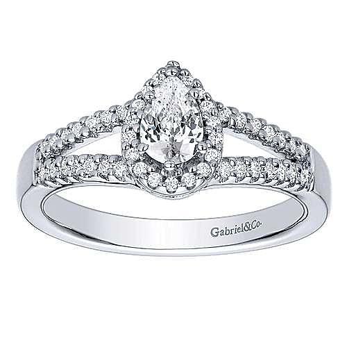 14k White Gold Pear Shape Halo Engagement Ring angle 5