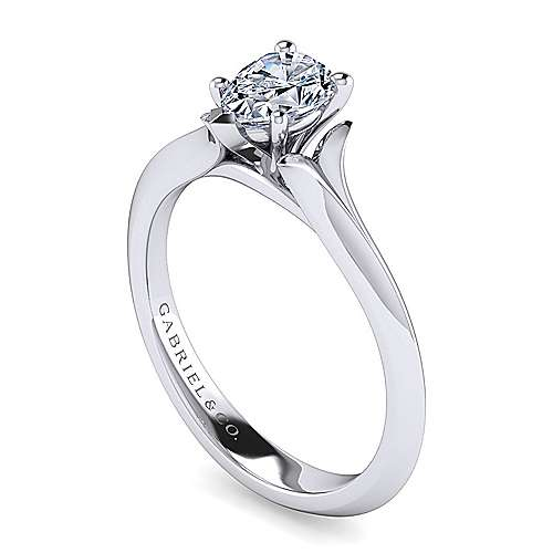 14k White Gold Pear Shape Solitaire Engagement Ring angle 3
