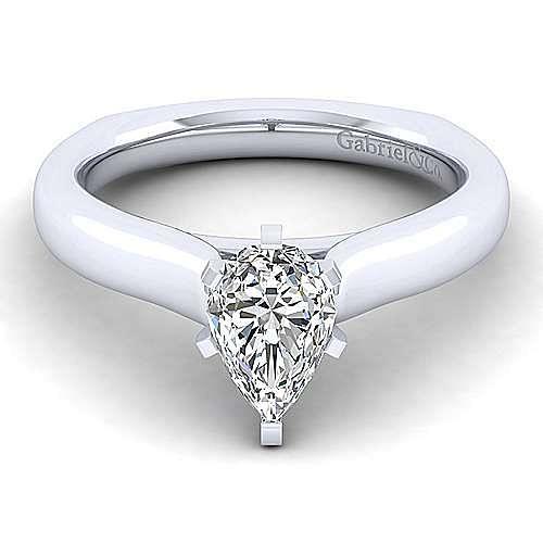 Gabriel - 14k White Gold Pear Shape Solitaire Engagement Ring
