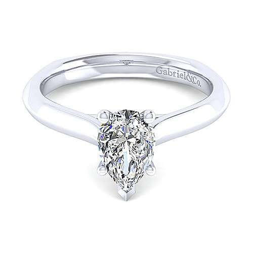 Gabriel - 14k White Gold Pear Shape Solitaire Engagement Ring