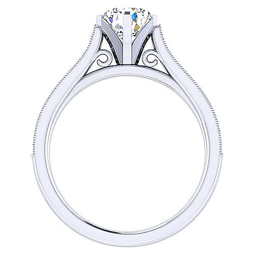 14k White Gold Pear Shape Straight Engagement Ring angle 2