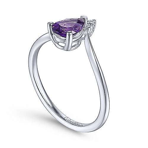 14k White Gold Pear Shaped Amethyst & Diamond Ladies' Fashion Ring