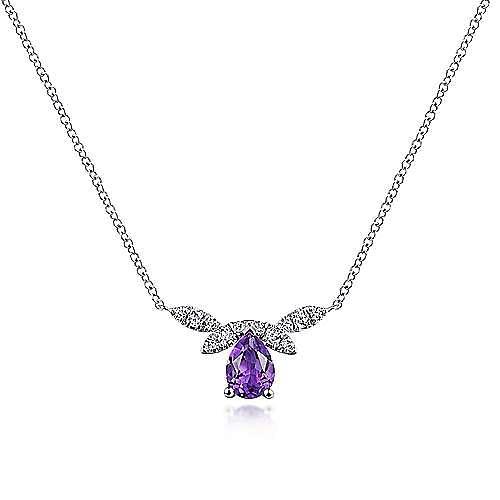 14k White Gold Pear Shaped Amethyst Diamond Petal Fashion Necklace