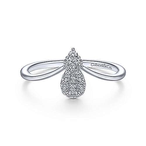 Gabriel - 14k White Gold Pear Shaped Diamond Cluster Ladies' Fashion Ring