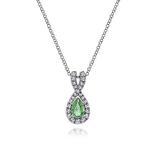 14k White Gold Pear Shaped Emerald & Diamond Fashion Necklace