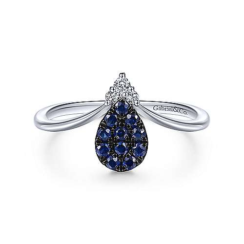 Gabriel - 14k White Gold Pear Shaped Sapphire Cluster & Diamond Ladies' Fashion Ring