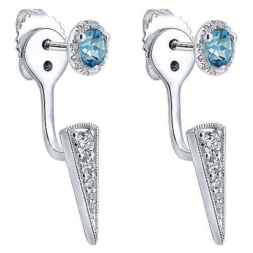 14k White Gold Peek A Boo Swiss Blue Topz & Diamond Spike Earrings