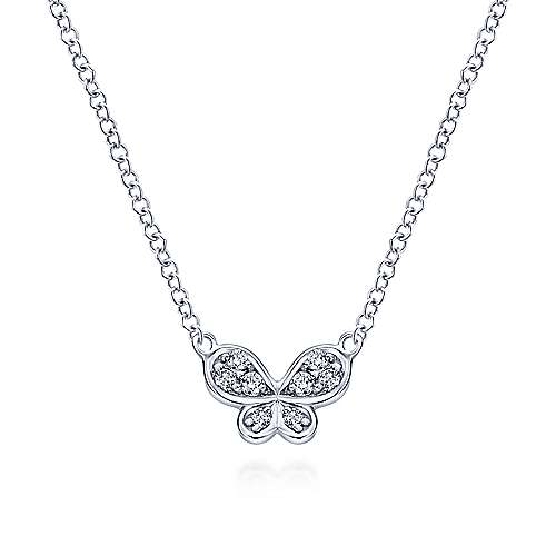 14k White Gold Petite Diamond Butterfly Necklace