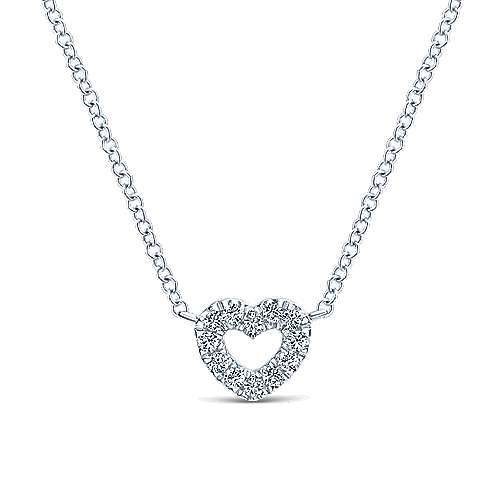 Gabriel - 14k White Gold Petite Open Heart Pendant Necklace