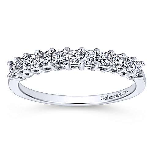 14k White Gold Princess Cut 11 Stone Diamond Anniversary Band angle 5