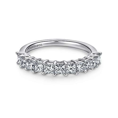 14k White Gold Princess Cut 11 Stone Prong Set Band