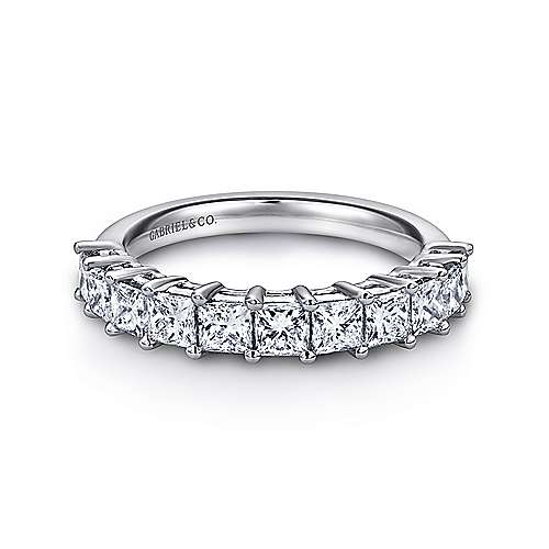 Gabriel - 14k White Gold Princess Cut 11 Stone Prong Set Band