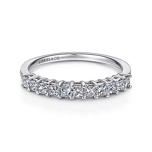 14k White Gold Princess Cut 11 Stone Prong Set Diamond Band
