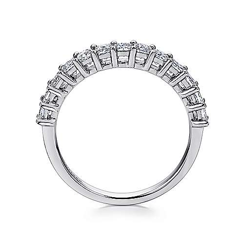 14k White Gold Princess Cut 13 Stone Prong Set Band
