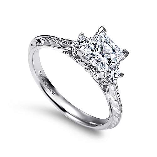 14k White Gold Princess Cut 3 Stones Engagement Ring angle 3