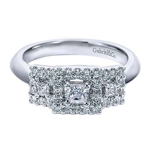 14k White Gold Princess Cut 3 Stones Halo Engagement Ring angle 1