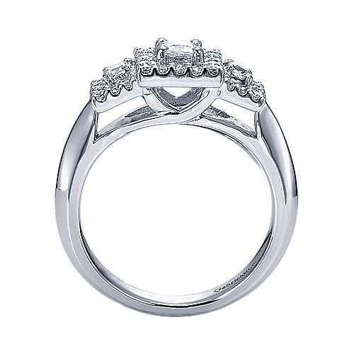 14k White Gold Princess Cut 3 Stones Halo Engagement Ring angle 2