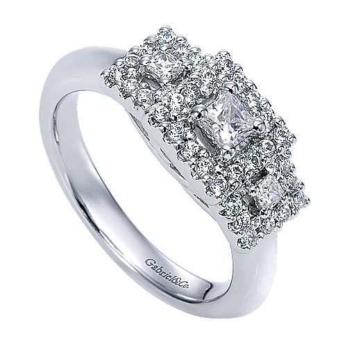 14k White Gold Princess Cut 3 Stones Halo Engagement Ring angle 3
