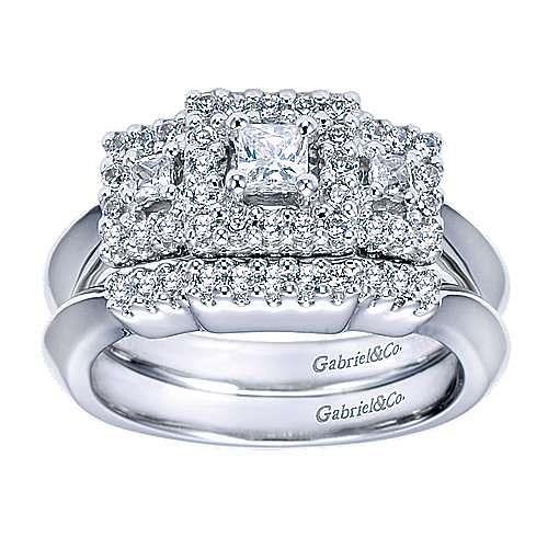 14k White Gold Princess Cut 3 Stones Halo Engagement Ring angle 4
