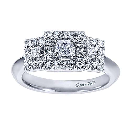 14k White Gold Princess Cut 3 Stones Halo Engagement Ring angle 5