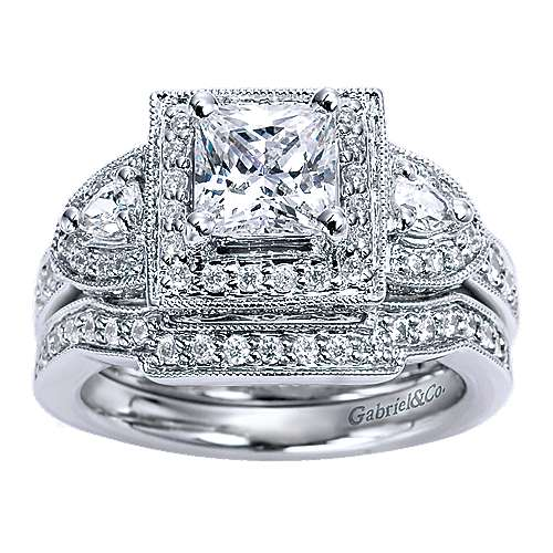 14k White Gold Princess Cut 3 Stones Halo Engagement Ring angle 4