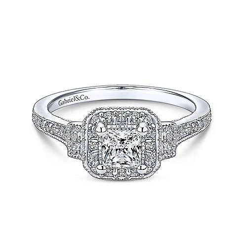 Gabriel - 14k White Gold Princess Cut 3 Stones Halo Engagement Ring