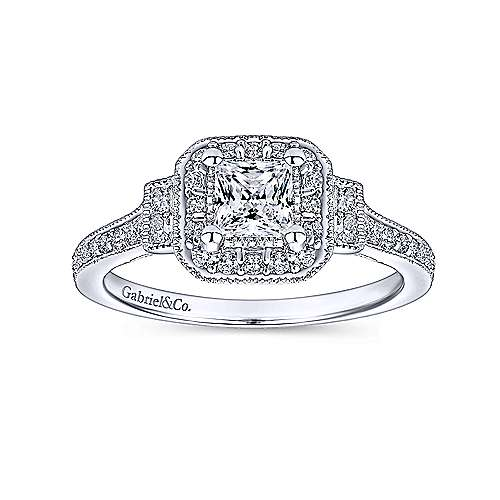 14k White Gold Princess Cut 3 Stones Halo Engagement Ring angle 5