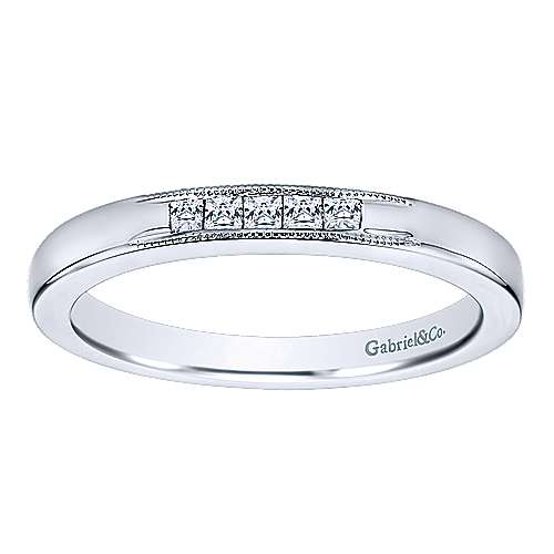 14k White Gold Princess Cut 5 Stone Channel Set Band