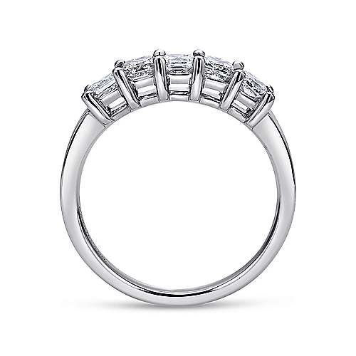 14k White Gold Princess Cut 5 Stone Diamond Anniversary Band angle 2
