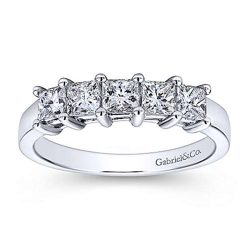 14k White Gold Princess Cut 5 Stone Diamond Anniversary Band angle 5