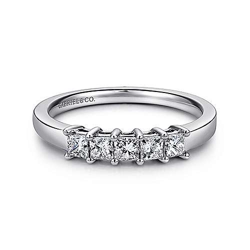 Gabriel - 14k White Gold Princess Cut 5 Stone Prong Set Band