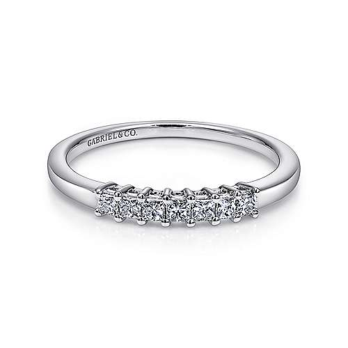 Gabriel - 14k White Gold Princess Cut 7 Stone Diamond Anniversary Band