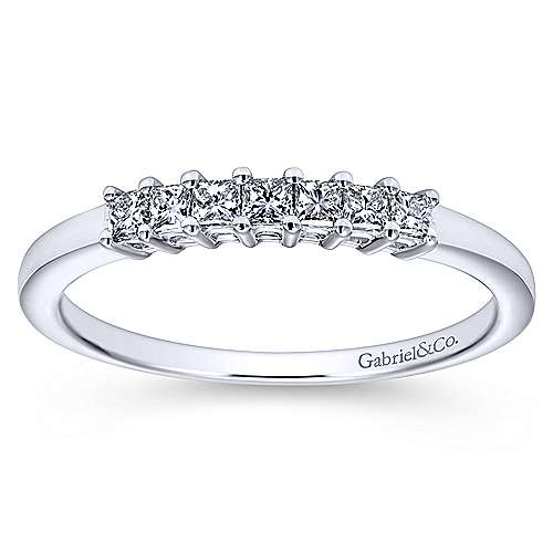 14k White Gold Princess Cut 7 Stone Diamond Anniversary Band angle 5