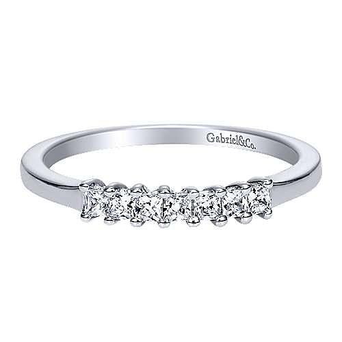 Gabriel - 14k White Gold Princess Cut 7 Stone Diamond Anniversary Band