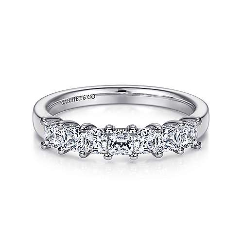 14k White Gold Princess Cut 7 Stone Diamond Anniversary Band angle 1