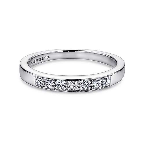 Gabriel - 14k White Gold Princess Cut 7 Stone Prong Channel Set Band