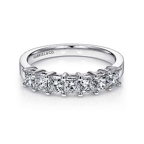 Gabriel - 14k White Gold Princess Cut 7 Stone Prong Set Band