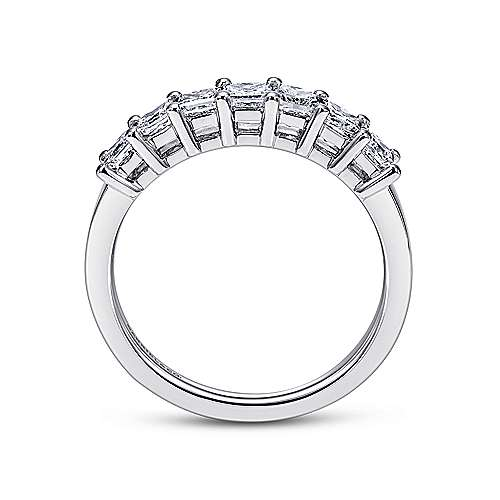 14k White Gold Princess Cut 7 Stone Prong Set Band