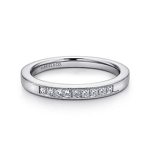 Gabriel - 14k White Gold Princess Cut 9 Stone Channel Set Band
